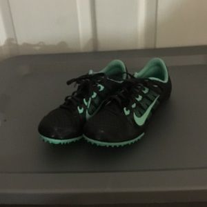 NIKE Zoom Track Running Shoes Size 8.5 Black Mint